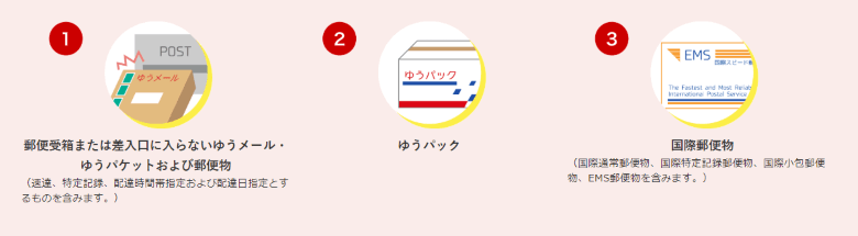 郵便局置き配対象サービス1~3