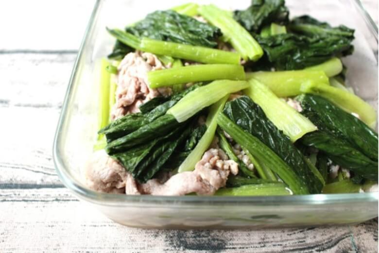 豚肉と小松菜のコクうま塩いため
