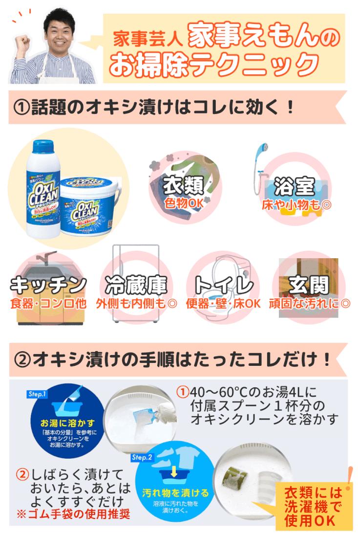 家事芸人松橋周太呂「家事えもん」の掃除テクニック オキシ漬けポイントまとめ