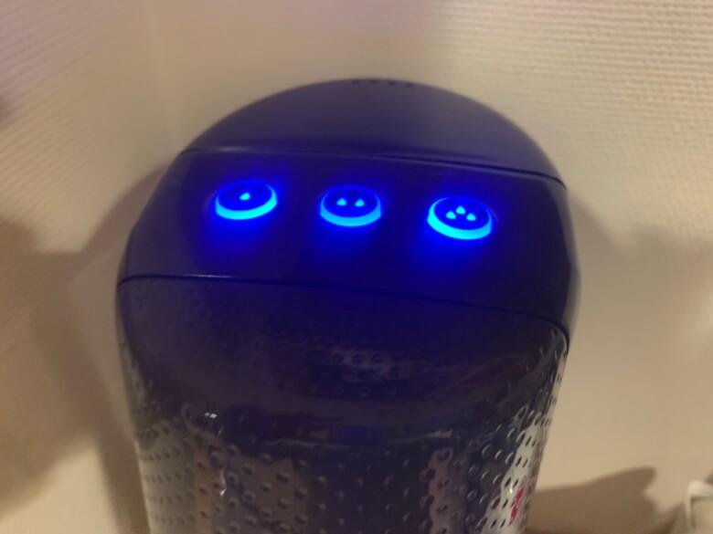 ソーダストリーム機械上部にあるボタン