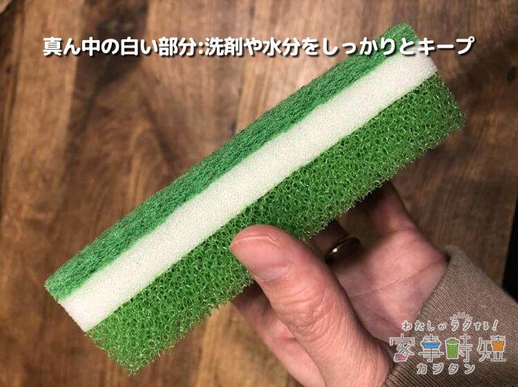 真ん中の細かい網目気泡スポンジ:洗剤や水分をしっかりとキープ