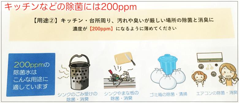 キッチンなどの除菌に!200ppm