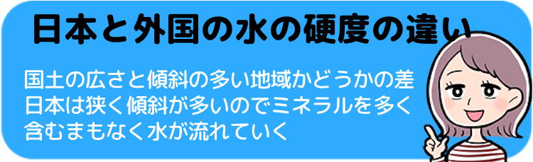 日本と外国の水の硬度の違い<