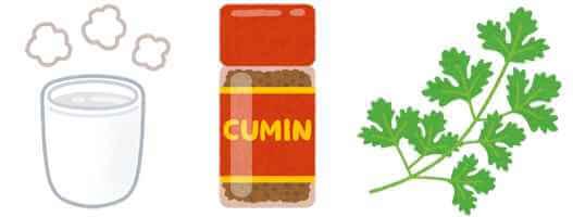 白湯 + クミン + コリアンダー