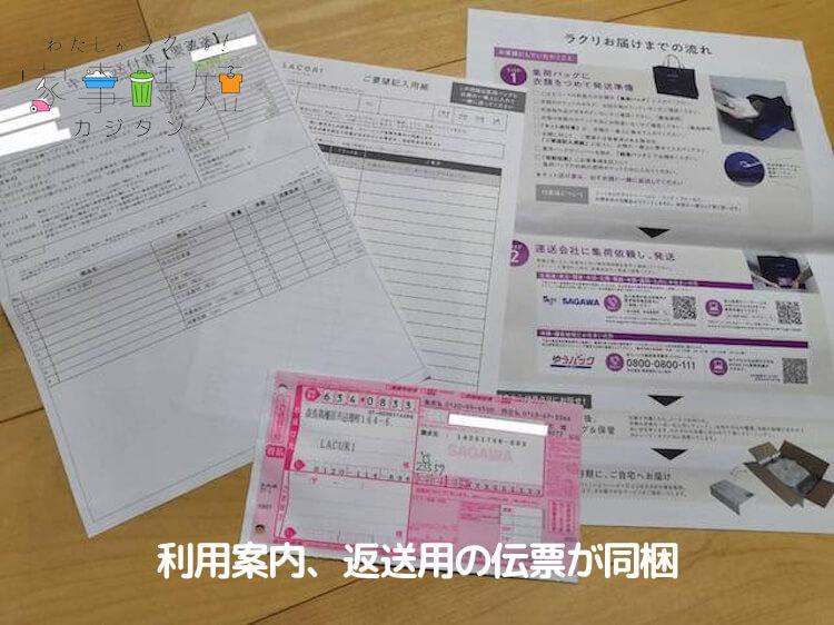 利用案内、返送用の伝票が同梱