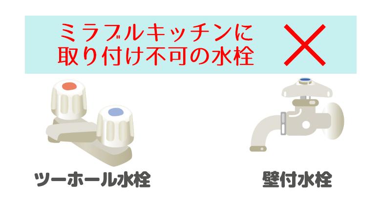 ミラブルキッチンに取り付け不可の水栓